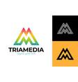 colorful letter m logo design for business vector image
