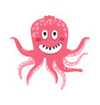 cute smiling cartoon pink octopus character funny vector image vector image