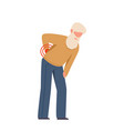 elderly man suffering from back pain grandfather vector image