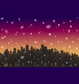 evening snowy landscape city metropolis vector image