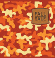 fall sale banner with patch on camo background vector image vector image