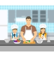 father and kids cooking together at kitchen flat vector image vector image