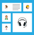 flat icon call set of telemarketing earphone vector image vector image