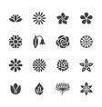 flowers flat glyph icons beautiful garden plants vector image vector image