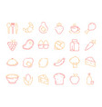 food colored icon bread fish fruits vegetables vector image