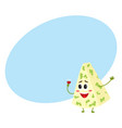 funny smiling happy blue cheese character vector image vector image