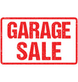 garage sale typography isolated on white rubber vector image