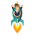 happy businessman on a rocket ship launch vector image vector image