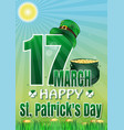 happy st patricks day march 17 greeting card vector image