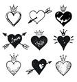 heart set hand drawn doodle sketch style vector image vector image