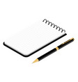 isometric black opened vertical spiral notepad vector image
