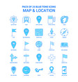 map and location blue tone icon pack - 25 icon vector image