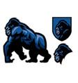 mascot gorilla walking set vector image vector image