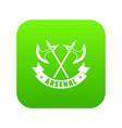 medieval axe icon green vector image