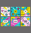 memphis cards template abstract fashion 90s vector image vector image