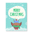 merry christmas greeting card with owl in warm hat vector image vector image