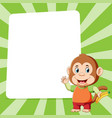 monkey holding banana standing in front of vector image vector image