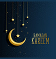moon and stars ramadan kareem background vector image