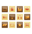 office and business icons over brown background vector image vector image