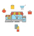 Online shopping communication vector image