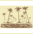 palm trees beach panorama view from sea vector image vector image