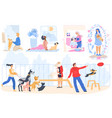 pet owners people with dogs cartoon characters vector image vector image