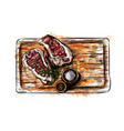 pieces meat on a cutting board vector image