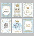 prince frames cute boy party invitation shower vector image vector image