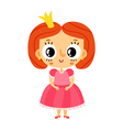 Princess little girl in pink dress cartoon vector image