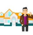 Real estate agent with key vector image