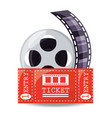 reel filmstrip with ticket to short film vector image vector image