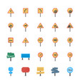 road signs and junctions flat icons pack vector image