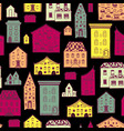 seamless pattern color houses-02 vector image vector image