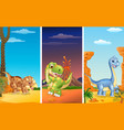 set of three dinosaurs vector image vector image