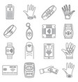 smart nfc technology icon set outline style vector image vector image
