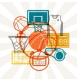 Sports background with basketball icons in flat vector image vector image