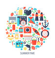 summer time vacation flat infographics icons vector image vector image