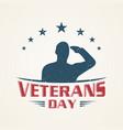 vintage emblem design veterans day vector image vector image