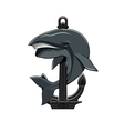 Whale and Anchor heraldic icon vector image vector image