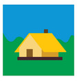 yellow house on white background vector image vector image