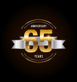 65 years anniversary celebration logotype golden vector image vector image