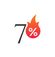 70 percent off with flame burning sticker vector image vector image