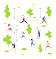 active people in the spring park walking and vector image