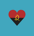 angola flag icon in a heart shape in flat design vector image vector image