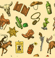 beautiful hand drawn set of wild west vector image vector image