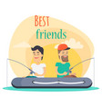 best friends go fishing together vector image vector image