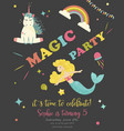 birthday party card with unicorn and mermaid vector image vector image