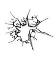 broken glass cracks bullet marks on glass vector image vector image