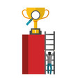 businessman climbs stairs with trophy and vector image vector image