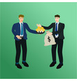 businessman exchange idea and money concept vector image vector image